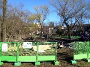 ひょうたん池の工事