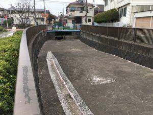 水源を覆うコンクリートに桜の花びらが