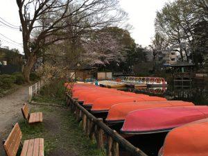 ボートがスタンバイ中。底の色って昔から朱色でしたっけ?